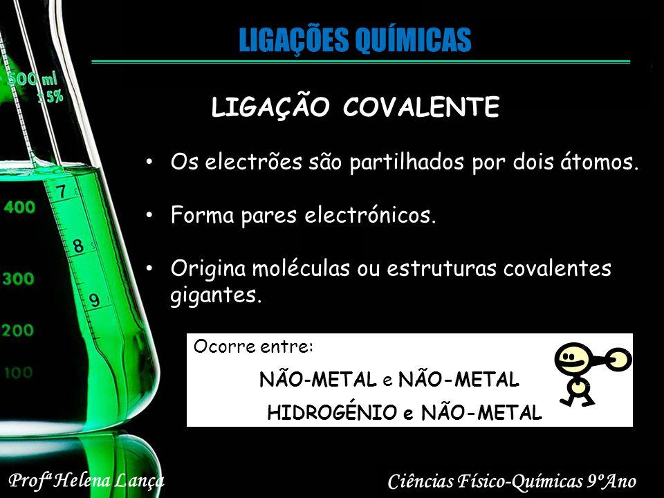 LIGAÇÕES QUÍMICAS Ciências Físico-Químicas 9ºAno Profª Helena Lança LIGAÇÃO COVALENTE Os electrões são partilhados por dois átomos. Forma pares electr