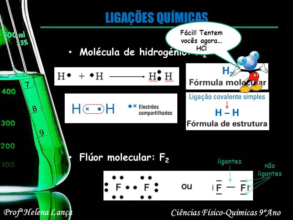 LIGAÇÕES QUÍMICAS Ciências Físico-Químicas 9ºAno Profª Helena Lança Molécula de hidrogénio: H 2 Flúor molecular: F 2 ligantes não ligantes Fácil! Tent