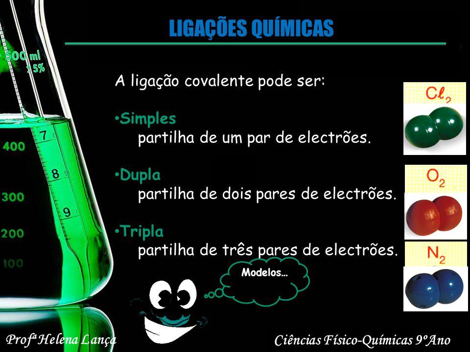LIGAÇÕES QUÍMICAS Ciências Físico-Químicas 9ºAno Profª Helena Lança A ligação covalente pode ser: Simples partilha de um par de electrões. Dupla parti