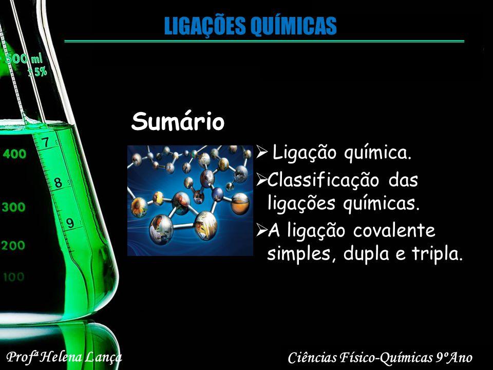 Sumário Ligação química. Classificação das ligações químicas. A ligação covalente simples, dupla e tripla. Profª Helena Lança Ciências Físico-Químicas