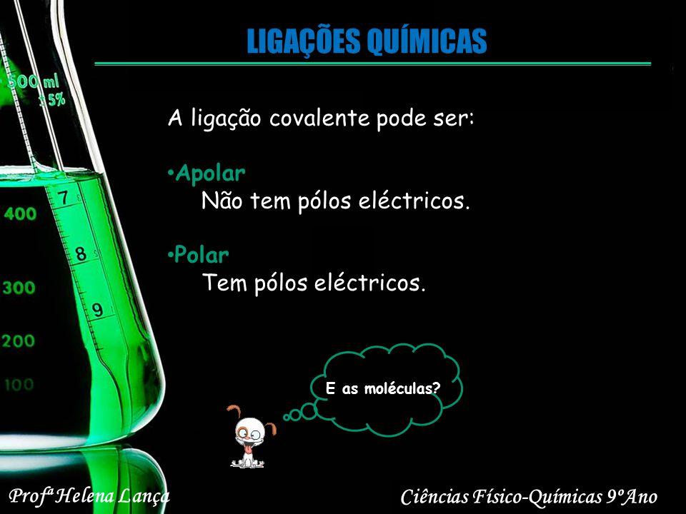 LIGAÇÕES QUÍMICAS Ciências Físico-Químicas 9ºAno Profª Helena Lança A ligação covalente pode ser: Apolar Não tem pólos eléctricos. Polar Tem pólos elé