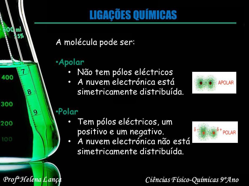 LIGAÇÕES QUÍMICAS Ciências Físico-Químicas 9ºAno Profª Helena Lança A molécula pode ser: Apolar Não tem pólos eléctricos A nuvem electrónica está sime
