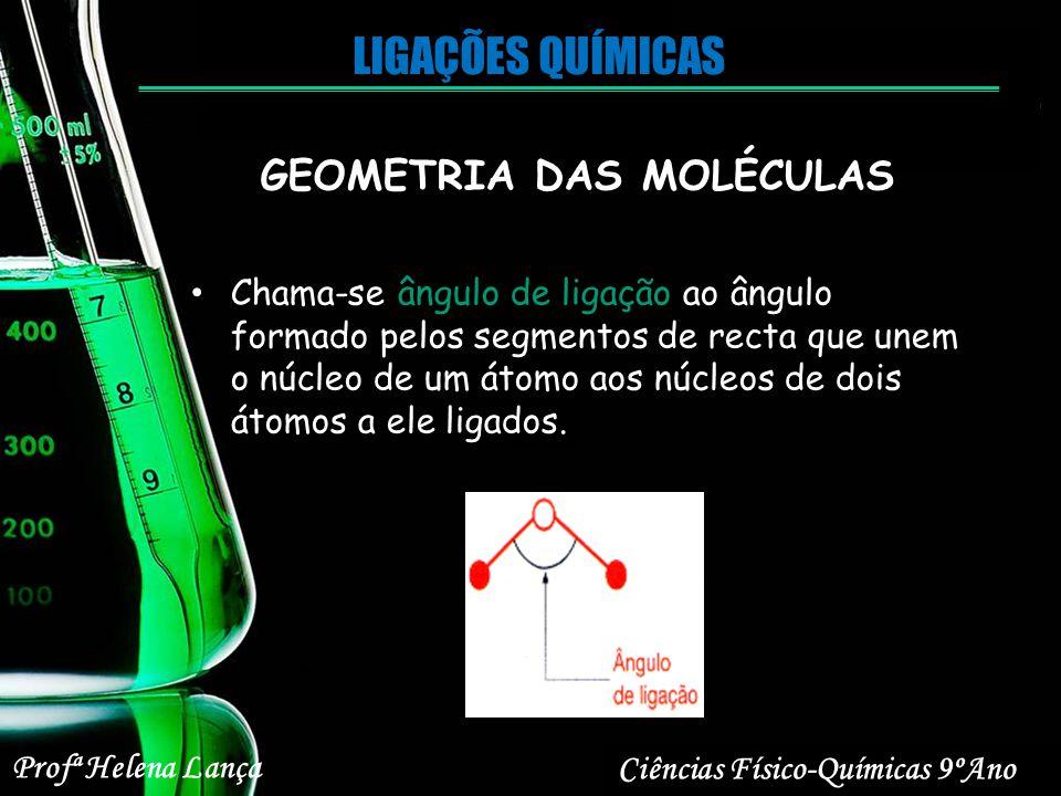 Profª Helena Lança Ciências Físico-Químicas 9ºAno LIGAÇÕES QUÍMICAS GEOMETRIA DAS MOLÉCULAS Chama-se ângulo de ligação ao ângulo formado pelos segment