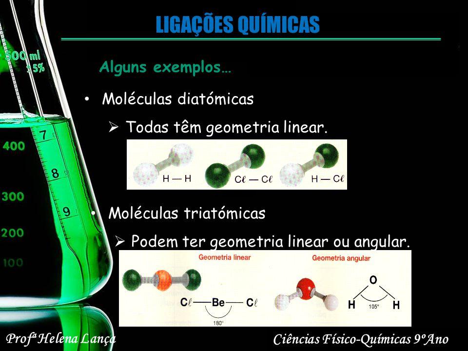 Profª Helena Lança Ciências Físico-Químicas 9ºAno LIGAÇÕES QUÍMICAS Moléculas diatómicas Todas têm geometria linear. Alguns exemplos… Moléculas triató