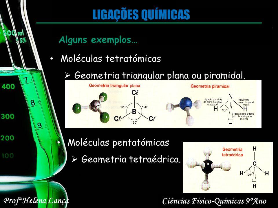 Profª Helena Lança Ciências Físico-Químicas 9ºAno LIGAÇÕES QUÍMICAS Moléculas tetratómicas Geometria triangular plana ou piramidal. Alguns exemplos… M