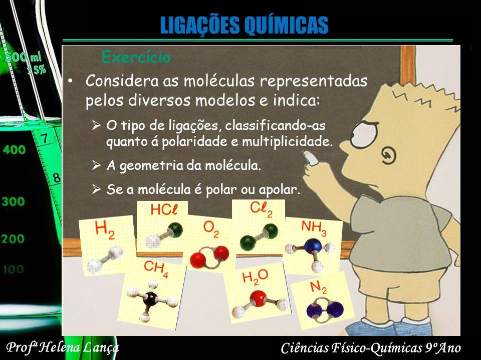 Profª Helena Lança Ciências Físico-Químicas 9ºAno LIGAÇÕES QUÍMICAS Considera as moléculas representadas pelos diversos modelos e indica: O tipo de li