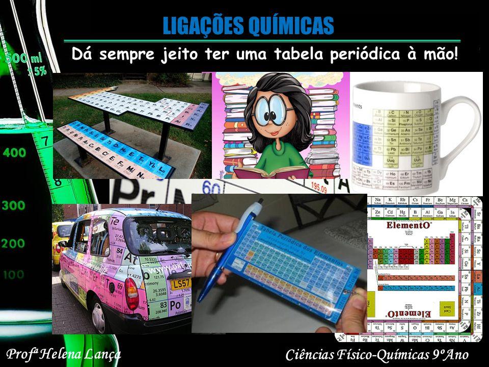 Dá sempre jeito ter uma tabela periódica à mão! Ciências Físico-Químicas 9ºAno Profª Helena Lança
