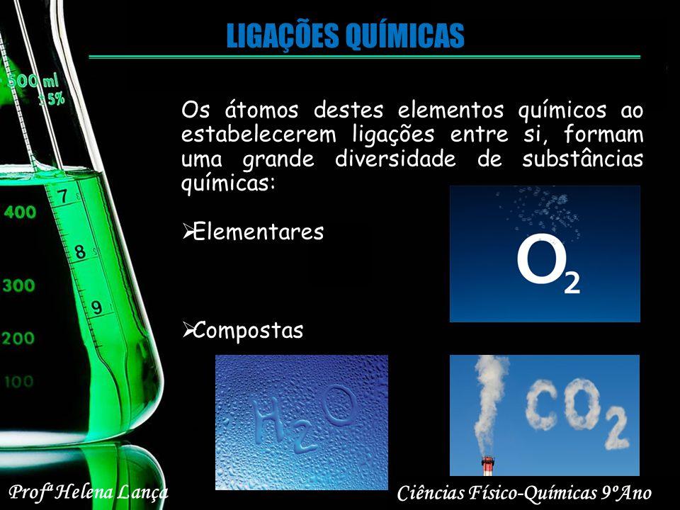 LIGAÇÕES QUÍMICAS Os átomos destes elementos químicos ao estabelecerem ligações entre si, formam uma grande diversidade de substâncias químicas: Eleme