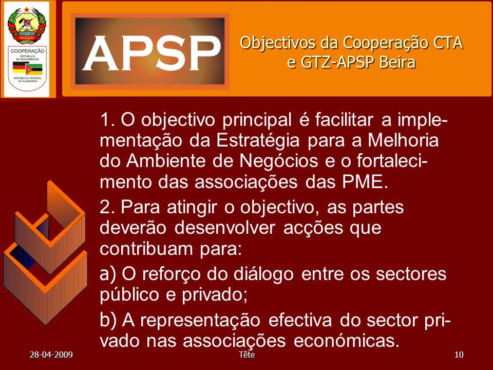 28-04-2009Tête10 Objectivos da Cooperação CTA e GTZ-APSP Beira 1. O objectivo principal é facilitar a imple- mentação da Estratégia para a Melhoria do