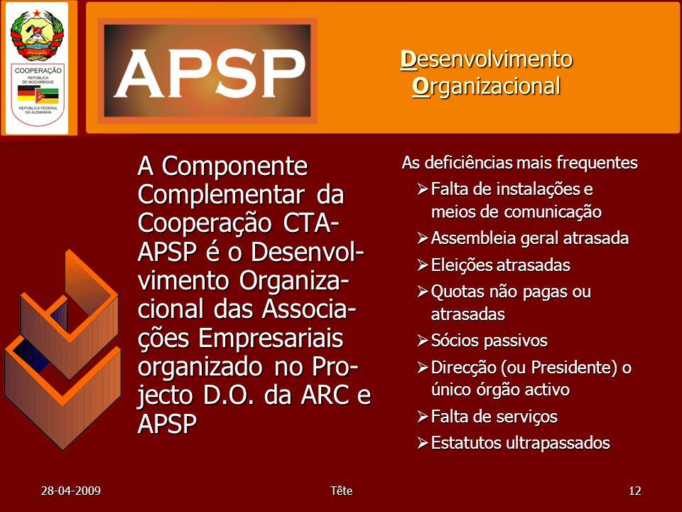 28-04-2009Tête12 Desenvolvimento Organizacional A Componente Complementar da Cooperação CTA- APSP é o Desenvol- vimento Organiza- cional das Associa- ções Empresariais organizado no Pro- jecto D.O.