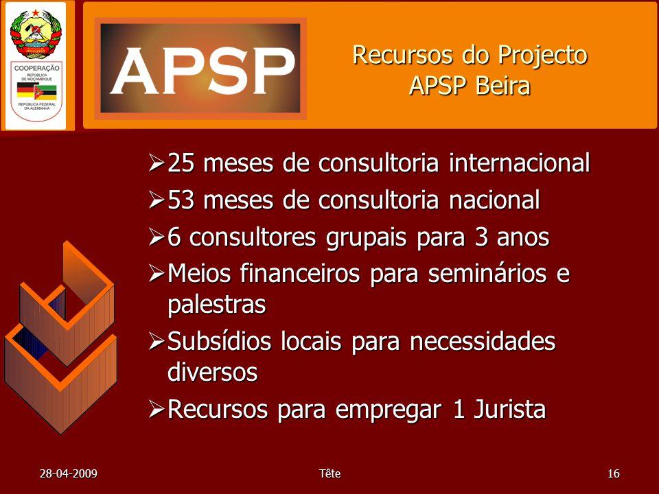 28-04-2009Tête16 Recursos do Projecto APSP Beira 25 meses de consultoria internacional 25 meses de consultoria internacional 53 meses de consultoria n