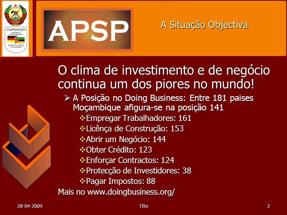 28-04-2009Tête2 A Situação Objectiva O clima de investimento e de negócio continua um dos piores no mundo! A Posição no Doing Business: Entre 181 pais