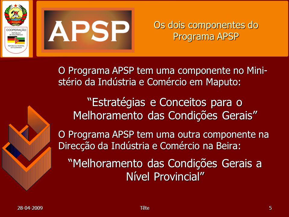 28-04-2009Tête5 Os dois componentes do Programa APSP O Programa APSP tem uma componente no Mini- stério da Indústria e Comércio em Maputo: Estratégias