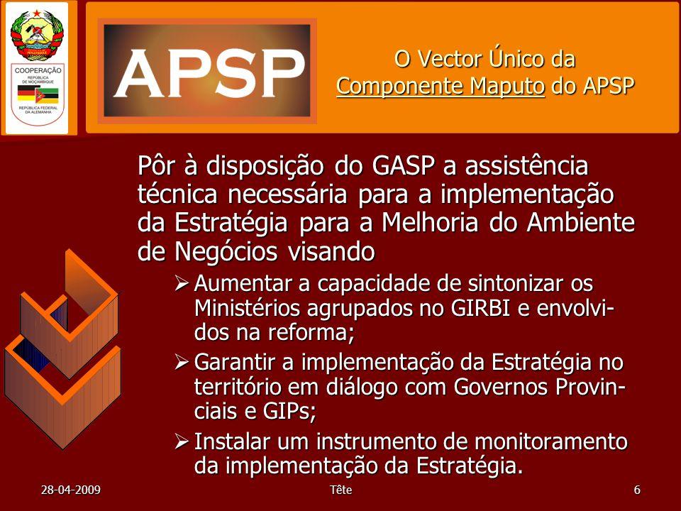 28-04-2009Tête6 O Vector Único da Componente Maputo do APSP Pôr à disposição do GASP a assistência técnica necessária para a implementação da Estratég