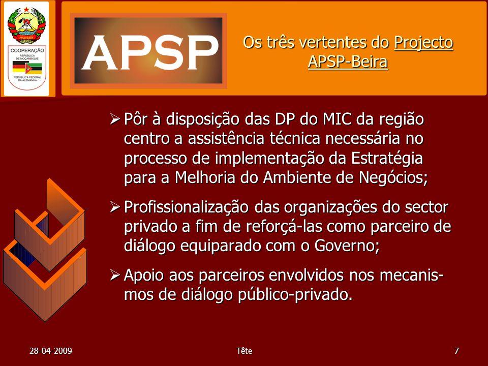 28-04-2009Tête7 Os três vertentes do Projecto APSP-Beira Pôr à disposição das DP do MIC da região centro a assistência técnica necessária no processo