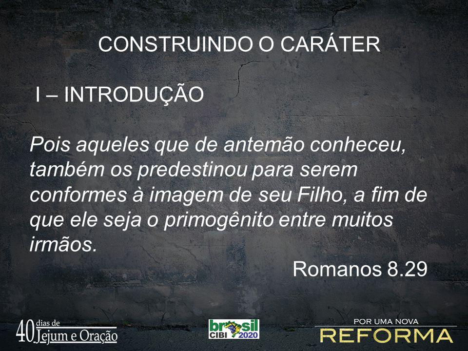 CONSTRUINDO O CARÁTER I – INTRODUÇÃO Pois aqueles que de antemão conheceu, também os predestinou para serem conformes à imagem de seu Filho, a fim de que ele seja o primogênito entre muitos irmãos.