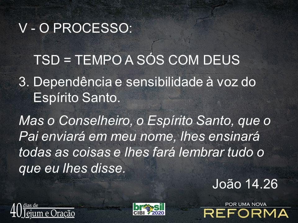 V - O PROCESSO: TSD = TEMPO A SÓS COM DEUS 3.Dependência e sensibilidade à voz do Espírito Santo.