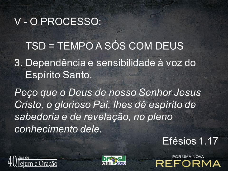 V - O PROCESSO: TSD = TEMPO A SÓS COM DEUS 3. Dependência e sensibilidade à voz do Espírito Santo. Peço que o Deus de nosso Senhor Jesus Cristo, o glo