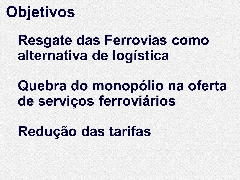 Objetivos Resgate das Ferrovias como alternativa de logística Quebra do monopólio na oferta de serviços ferroviários Redução das tarifas Resgate das F