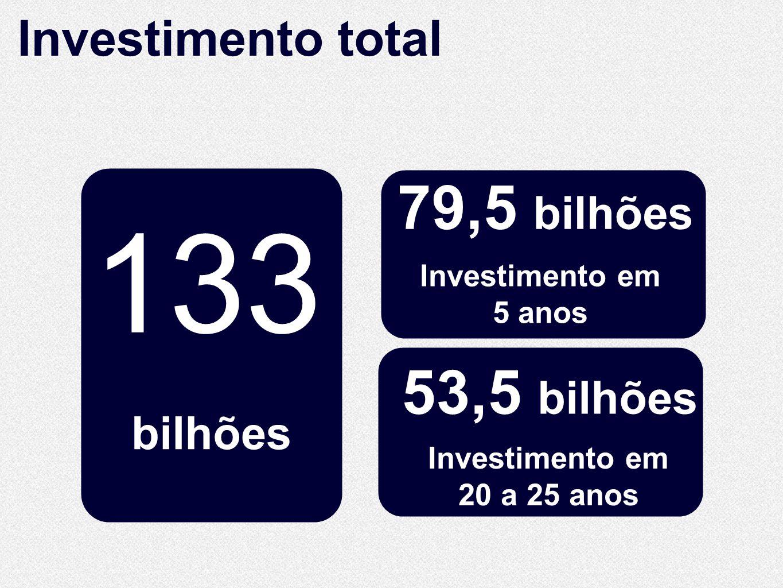 10.860 Km de extensão 10.860 Km de extensão bilhões Investimento total 133 79,5 bilhões Investimento em 20 a 25 anos Investimento em 5 anos 53,5 bilhõ
