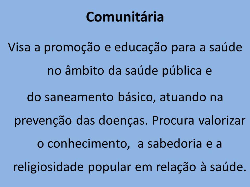 Comunitária Visa a promoção e educação para a saúde no âmbito da saúde pública e do saneamento básico, atuando na prevenção das doenças. Procura valor