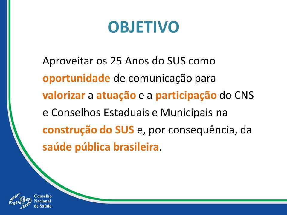 OBJETIVO Aproveitar os 25 Anos do SUS como oportunidade de comunicação para valorizar a atuação e a participação do CNS e Conselhos Estaduais e Municipais na construção do SUS e, por consequência, da saúde pública brasileira.