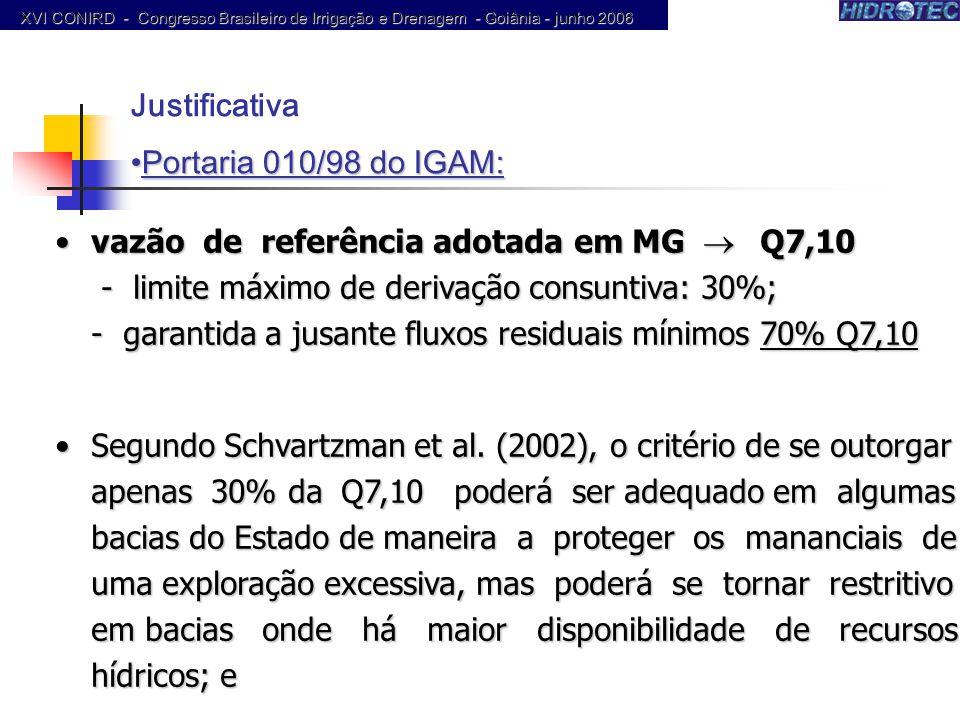 vazão de referência adotada em MG Q7,10 - limite máximo de derivação consuntiva: 30%; - garantida a jusante fluxos residuais mínimos 70% Q7,10vazão de