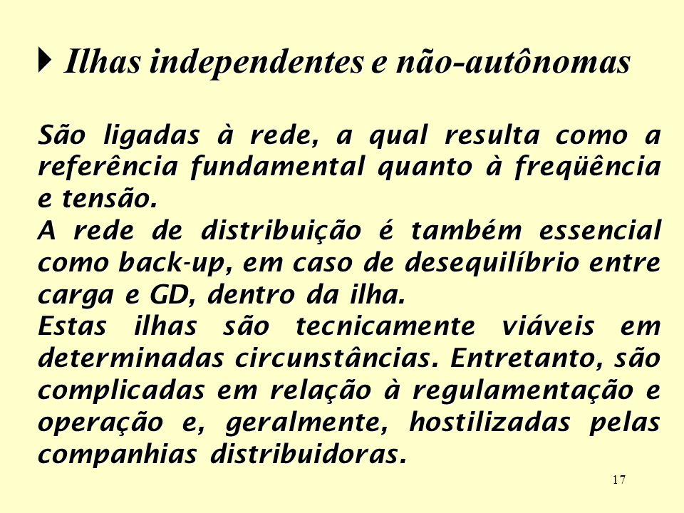 17 Ilhas independentes e não-autônomas Ilhas independentes e não-autônomas São ligadas à rede, a qual resulta como a referência fundamental quanto à f