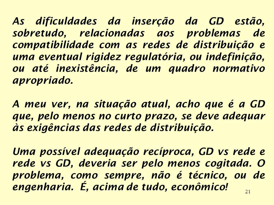 21 As dificuldades da inserção da GD estão, sobretudo, relacionadas aos problemas de compatibilidade com as redes de distribuição e uma eventual rigid