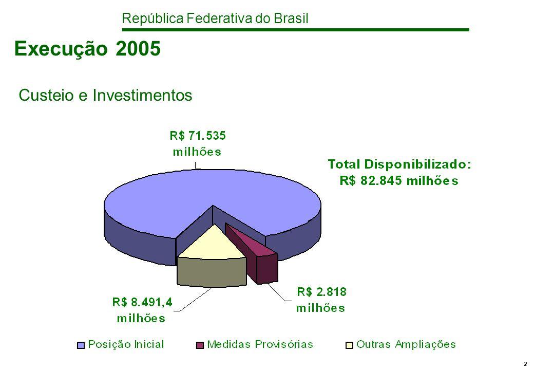 República Federativa do Brasil 2 Execução 2005 Custeio e Investimentos