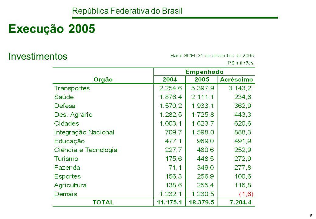 República Federativa do Brasil 5 Execução 2005 Investimentos