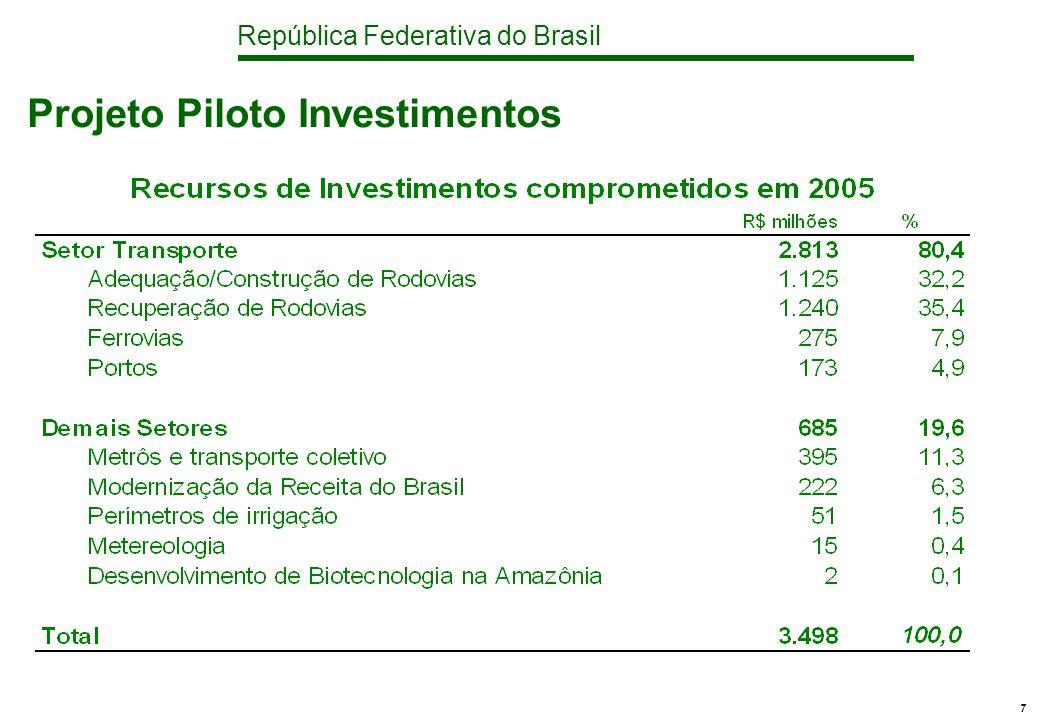 República Federativa do Brasil 7 Projeto Piloto Investimentos