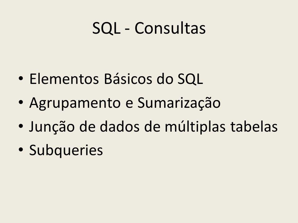 SQL - Consultas Elementos Básicos do SQL Agrupamento e Sumarização Junção de dados de múltiplas tabelas Subqueries