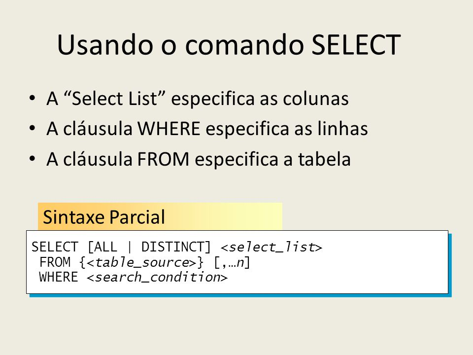 Usando o comando SELECT A Select List especifica as colunas A cláusula WHERE especifica as linhas A cláusula FROM especifica a tabela Sintaxe Parcial