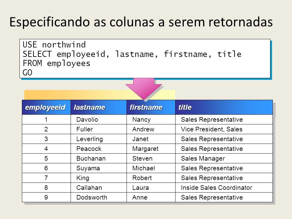 Especificando as colunas a serem retornadasemployeeidemployeeidlastnamelastnamefirstnamefirstnametitletitle 1 1 Davolio Nancy Sales Representative 2 2