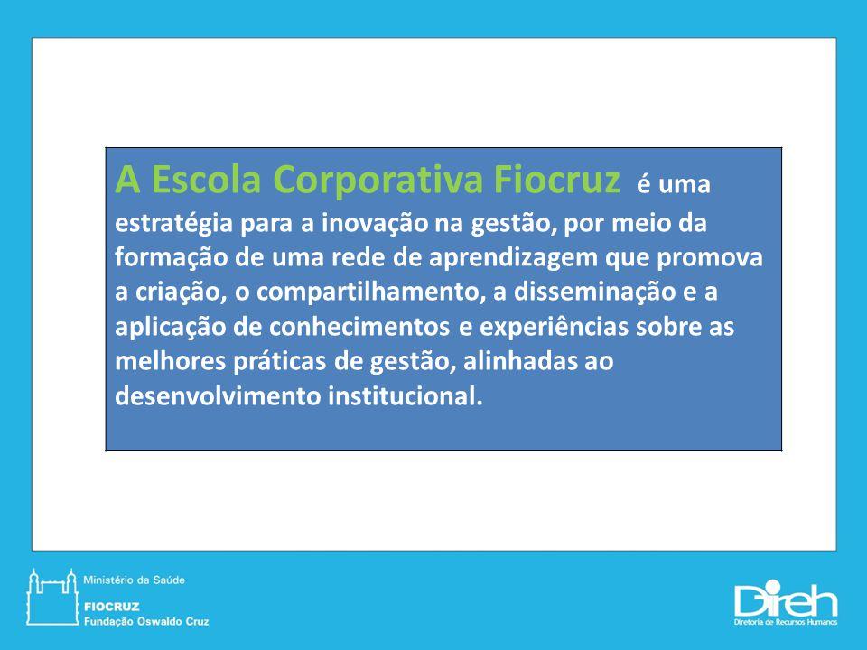A Escola Corporativa Fiocruz é uma estratégia para a inovação na gestão, por meio da formação de uma rede de aprendizagem que promova a criação, o com