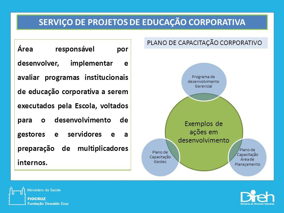SERVIÇO DE PROJETOS DE EDUCAÇÃO CORPORATIVA Área responsável por desenvolver, implementar e avaliar programas institucionais de educação corporativa a