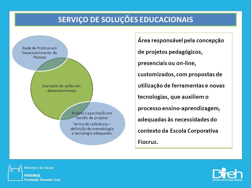 SERVIÇO DE SOLUÇÕES EDUCACIONAIS Área responsável pela concepção de projetos pedagógicos, presenciais ou on-line, customizados, com propostas de utili