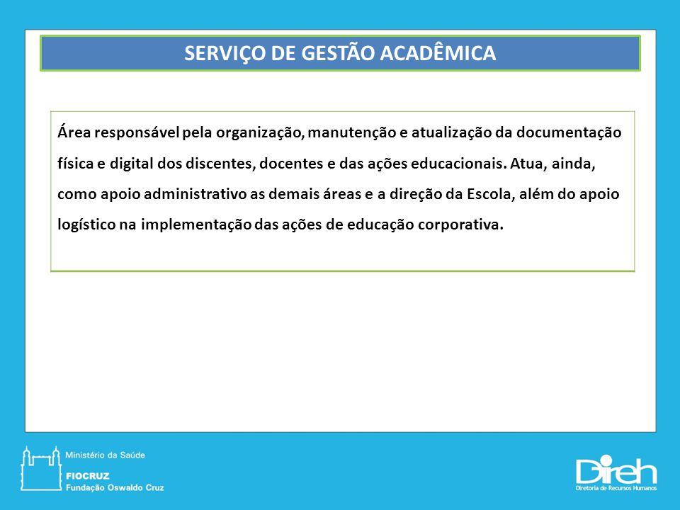 SERVIÇO DE GESTÃO ACADÊMICA Área responsável pela organização, manutenção e atualização da documentação física e digital dos discentes, docentes e das