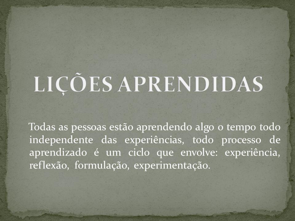 Todas as pessoas estão aprendendo algo o tempo todo independente das experiências, todo processo de aprendizado é um ciclo que envolve: experiência, r