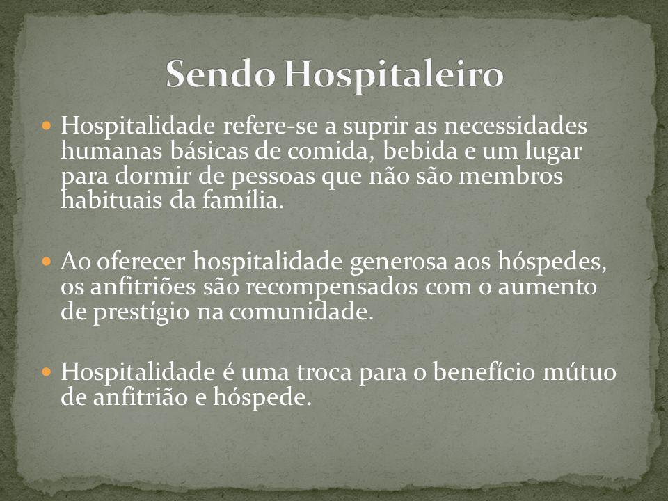 Hospitalidade refere-se a suprir as necessidades humanas básicas de comida, bebida e um lugar para dormir de pessoas que não são membros habituais da