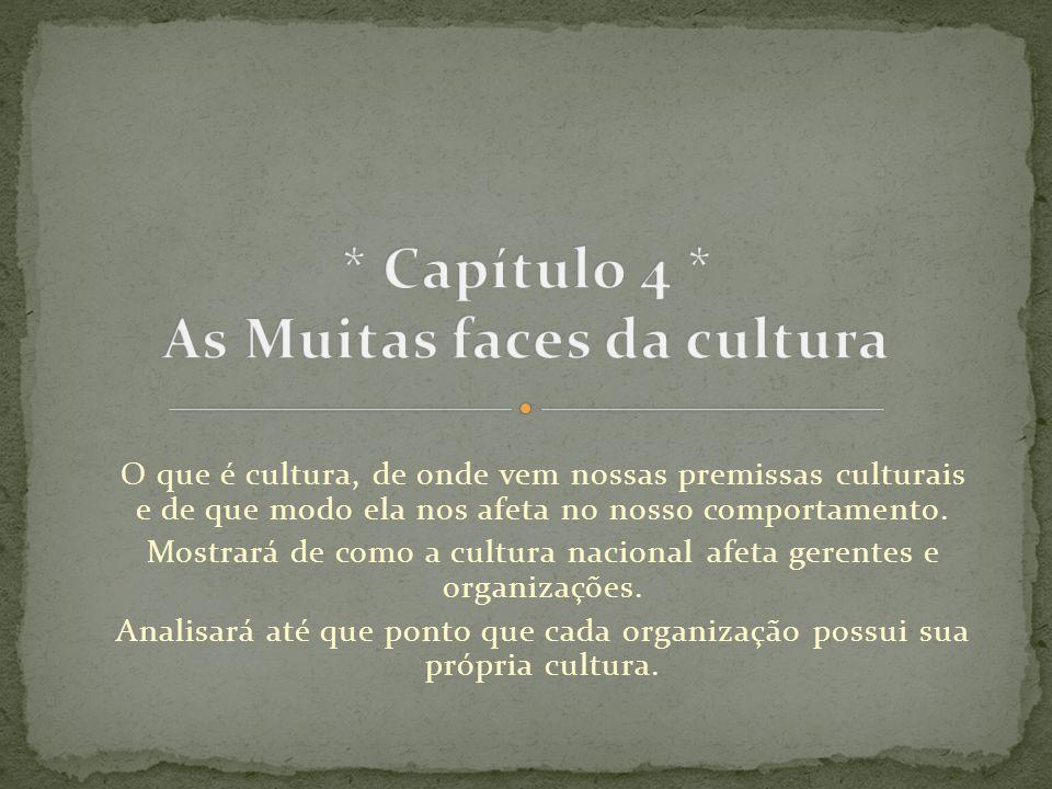 O que é cultura, de onde vem nossas premissas culturais e de que modo ela nos afeta no nosso comportamento. Mostrará de como a cultura nacional afeta
