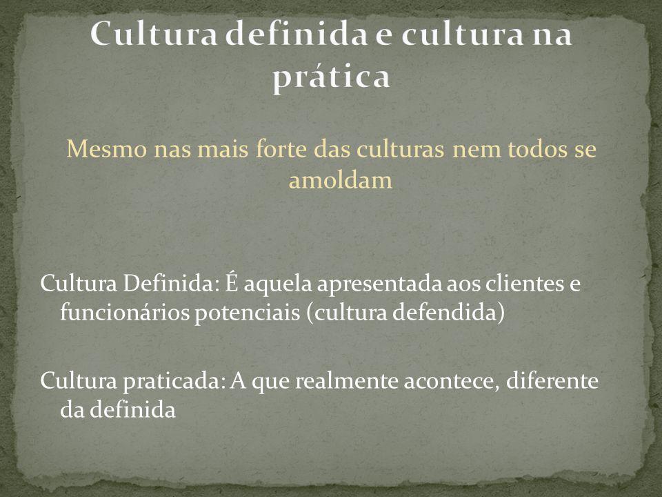 Mesmo nas mais forte das culturas nem todos se amoldam Cultura Definida: É aquela apresentada aos clientes e funcionários potenciais (cultura defendid