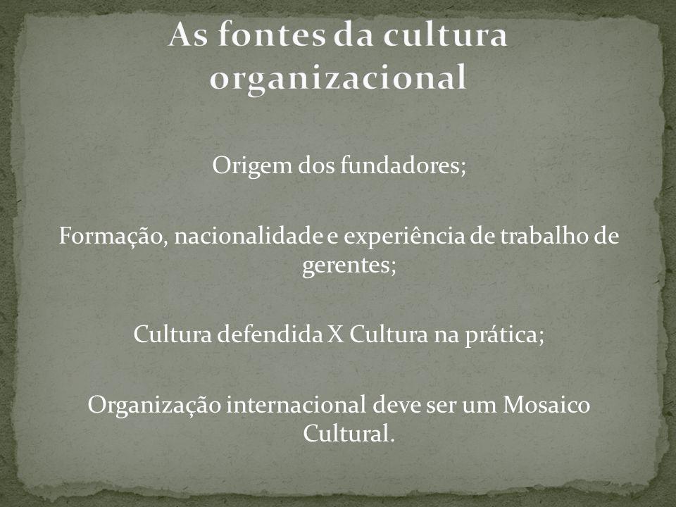 Origem dos fundadores; Formação, nacionalidade e experiência de trabalho de gerentes; Cultura defendida X Cultura na prática; Organização internaciona
