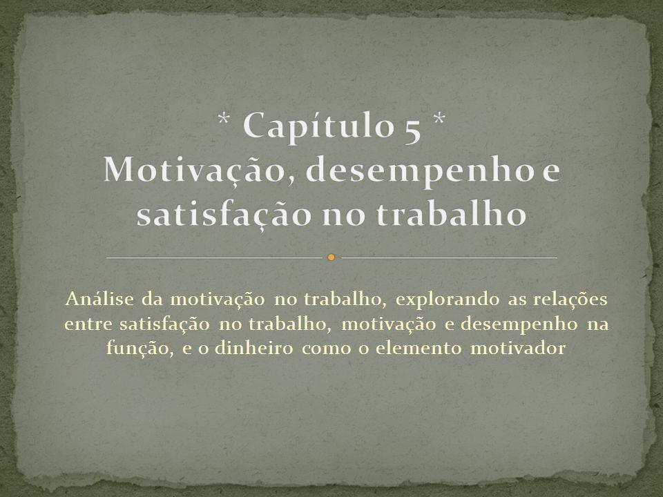 Análise da motivação no trabalho, explorando as relações entre satisfação no trabalho, motivação e desempenho na função, e o dinheiro como o elemento