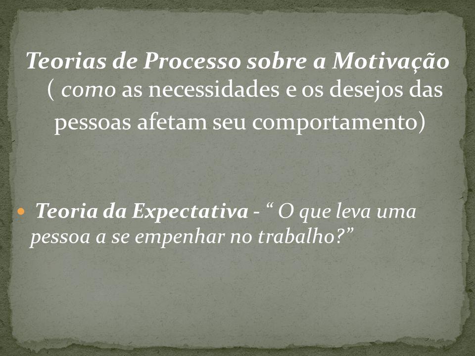 Teorias de Processo sobre a Motivação ( como as necessidades e os desejos das pessoas afetam seu comportamento) Teoria da Expectativa - O que leva uma