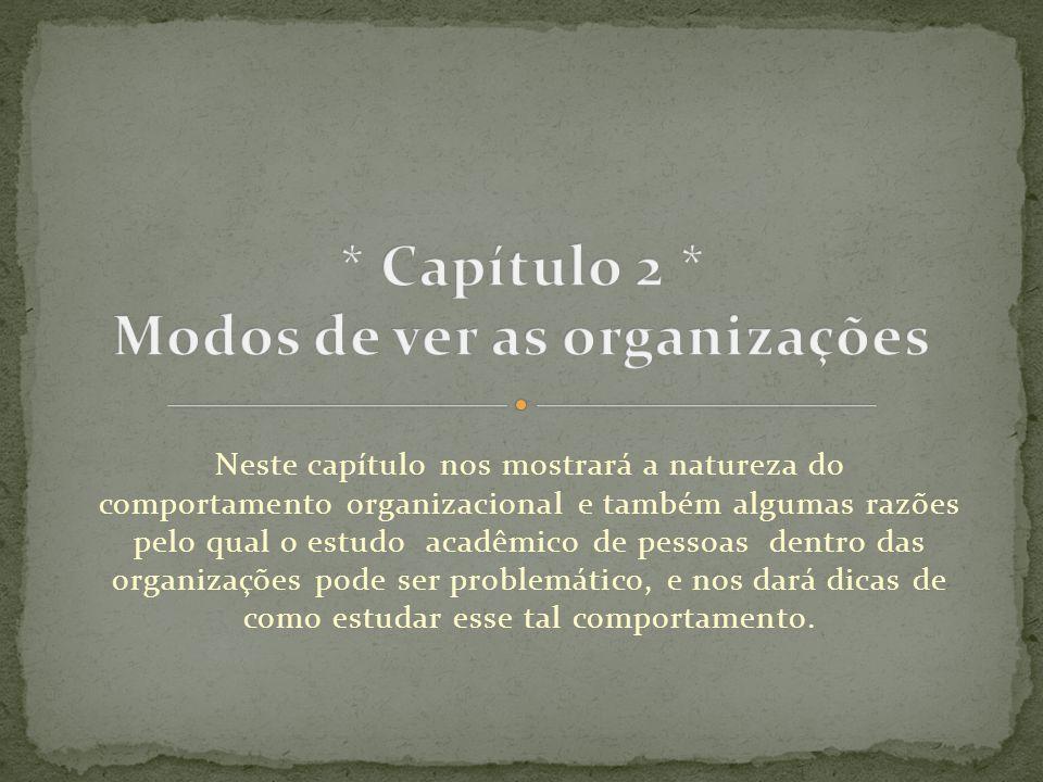 Neste capítulo nos mostrará a natureza do comportamento organizacional e também algumas razões pelo qual o estudo acadêmico de pessoas dentro das orga