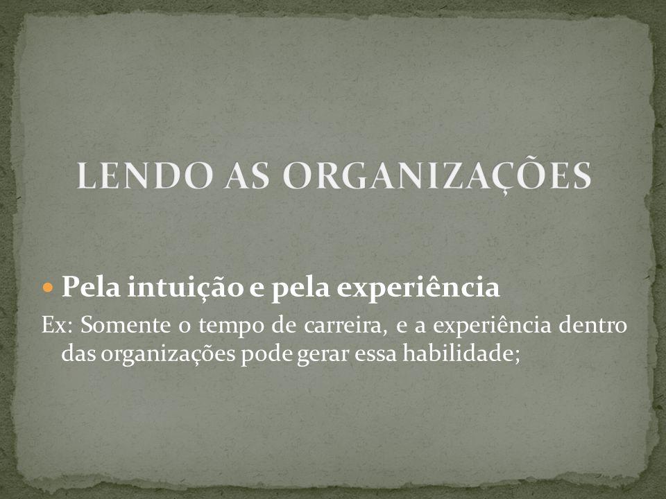 Pela intuição e pela experiência Ex: Somente o tempo de carreira, e a experiência dentro das organizações pode gerar essa habilidade;