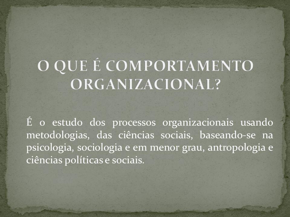 É o estudo dos processos organizacionais usando metodologias, das ciências sociais, baseando-se na psicologia, sociologia e em menor grau, antropologi