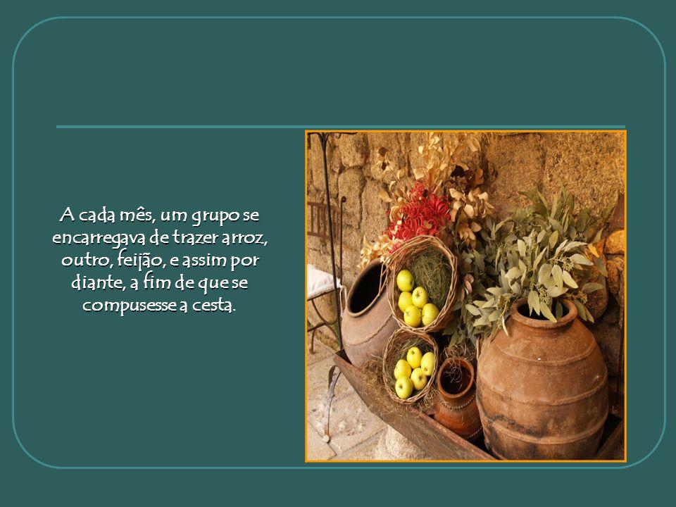 Quando eu participava de um grupo em uma casa espírita,todos os meses doávamos alimentos para compor cestas básicas que eram distribuídas às famílias
